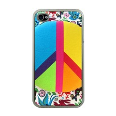 Peace Sign Animals Pattern Apple Iphone 4 Case (clear)