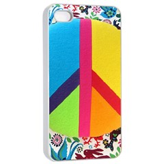 Peace Sign Animals Pattern Apple Iphone 4/4s Seamless Case (white)