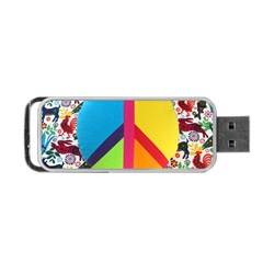 Peace Sign Animals Pattern Portable Usb Flash (one Side)