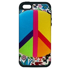 Peace Sign Animals Pattern Apple iPhone 5 Hardshell Case (PC+Silicone)
