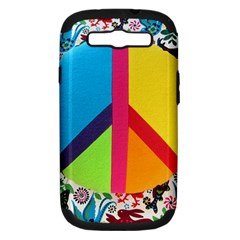 Peace Sign Animals Pattern Samsung Galaxy S III Hardshell Case (PC+Silicone)