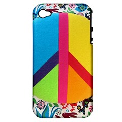 Peace Sign Animals Pattern Apple Iphone 4/4s Hardshell Case (pc+silicone)