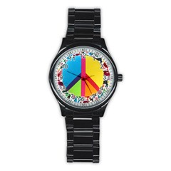 Peace Sign Animals Pattern Stainless Steel Round Watch