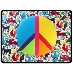 Peace Sign Animals Pattern Double Sided Fleece Blanket (Large)