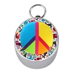 Peace Sign Animals Pattern Mini Silver Compasses
