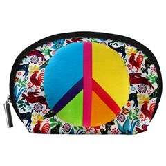 Peace Sign Animals Pattern Accessory Pouches (large)