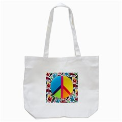 Peace Sign Animals Pattern Tote Bag (White)
