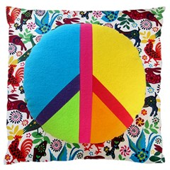 Peace Sign Animals Pattern Large Flano Cushion Case (One Side)