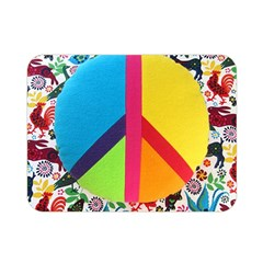 Peace Sign Animals Pattern Double Sided Flano Blanket (Mini)