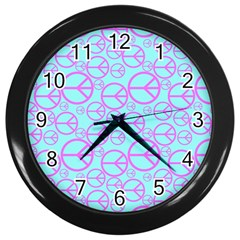 Peace Sign Backgrounds Wall Clocks (black)