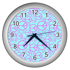 Peace Sign Backgrounds Wall Clocks (Silver)