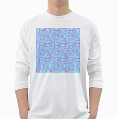 Peace Sign Backgrounds White Long Sleeve T Shirts