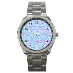 Peace Sign Backgrounds Sport Metal Watch