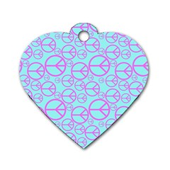 Peace Sign Backgrounds Dog Tag Heart (two Sides)
