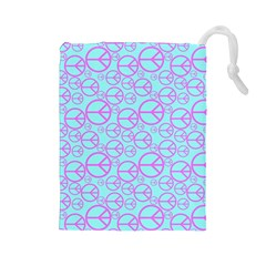 Peace Sign Backgrounds Drawstring Pouches (large)