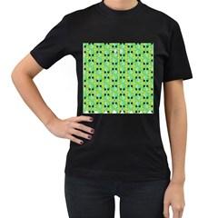 Alien Pattern Women s T-Shirt (Black) (Two Sided)