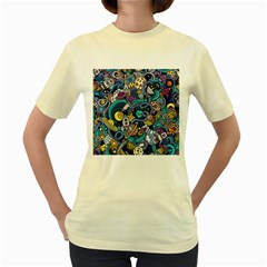 Cartoon Hand Drawn Doodles On The Subject Of Space Style Theme Seamless Pattern Vector Background Women s Yellow T Shirt