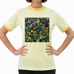Cartoon Hand Drawn Doodles On The Subject Of Space Style Theme Seamless Pattern Vector Background Women s Fitted Ringer T Shirts