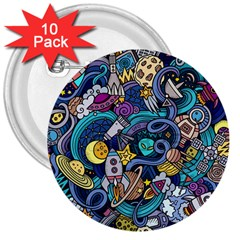 Cartoon Hand Drawn Doodles On The Subject Of Space Style Theme Seamless Pattern Vector Background 3  Buttons (10 pack)