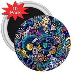 Cartoon Hand Drawn Doodles On The Subject Of Space Style Theme Seamless Pattern Vector Background 3  Magnets (10 pack)