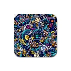 Cartoon Hand Drawn Doodles On The Subject Of Space Style Theme Seamless Pattern Vector Background Rubber Square Coaster (4 pack)