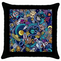 Cartoon Hand Drawn Doodles On The Subject Of Space Style Theme Seamless Pattern Vector Background Throw Pillow Case (black)
