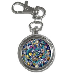 Cartoon Hand Drawn Doodles On The Subject Of Space Style Theme Seamless Pattern Vector Background Key Chain Watches