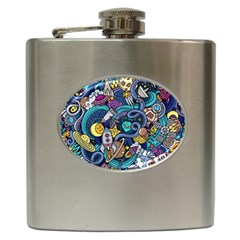 Cartoon Hand Drawn Doodles On The Subject Of Space Style Theme Seamless Pattern Vector Background Hip Flask (6 Oz)