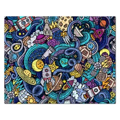 Cartoon Hand Drawn Doodles On The Subject Of Space Style Theme Seamless Pattern Vector Background Rectangular Jigsaw Puzzl