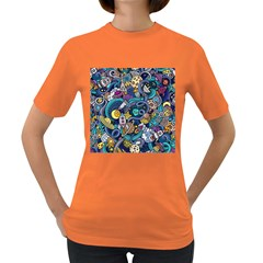 Cartoon Hand Drawn Doodles On The Subject Of Space Style Theme Seamless Pattern Vector Background Women s Dark T-Shirt