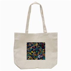 Cartoon Hand Drawn Doodles On The Subject Of Space Style Theme Seamless Pattern Vector Background Tote Bag (cream)