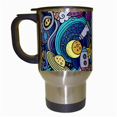 Cartoon Hand Drawn Doodles On The Subject Of Space Style Theme Seamless Pattern Vector Background Travel Mugs (white)