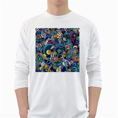 Cartoon Hand Drawn Doodles On The Subject Of Space Style Theme Seamless Pattern Vector Background White Long Sleeve T Shirts