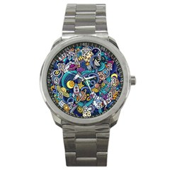 Cartoon Hand Drawn Doodles On The Subject Of Space Style Theme Seamless Pattern Vector Background Sport Metal Watch
