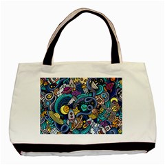 Cartoon Hand Drawn Doodles On The Subject Of Space Style Theme Seamless Pattern Vector Background Basic Tote Bag
