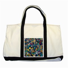 Cartoon Hand Drawn Doodles On The Subject Of Space Style Theme Seamless Pattern Vector Background Two Tone Tote Bag