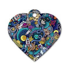 Cartoon Hand Drawn Doodles On The Subject Of Space Style Theme Seamless Pattern Vector Background Dog Tag Heart (Two Sides)