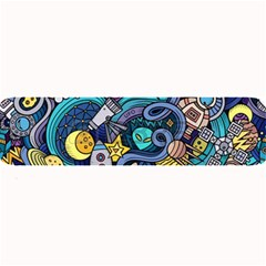 Cartoon Hand Drawn Doodles On The Subject Of Space Style Theme Seamless Pattern Vector Background Large Bar Mats