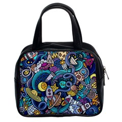 Cartoon Hand Drawn Doodles On The Subject Of Space Style Theme Seamless Pattern Vector Background Classic Handbags (2 Sides)
