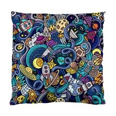 Cartoon Hand Drawn Doodles On The Subject Of Space Style Theme Seamless Pattern Vector Background Standard Cushion Case (One Side)