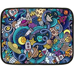 Cartoon Hand Drawn Doodles On The Subject Of Space Style Theme Seamless Pattern Vector Background Fleece Blanket (mini)