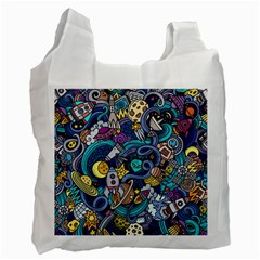 Cartoon Hand Drawn Doodles On The Subject Of Space Style Theme Seamless Pattern Vector Background Recycle Bag (two Side)