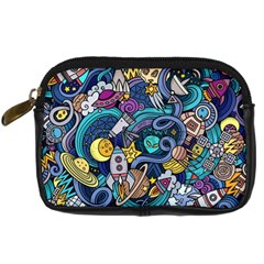 Cartoon Hand Drawn Doodles On The Subject Of Space Style Theme Seamless Pattern Vector Background Digital Camera Cases