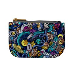 Cartoon Hand Drawn Doodles On The Subject Of Space Style Theme Seamless Pattern Vector Background Mini Coin Purses