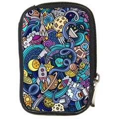 Cartoon Hand Drawn Doodles On The Subject Of Space Style Theme Seamless Pattern Vector Background Compact Camera Cases
