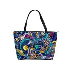 Cartoon Hand Drawn Doodles On The Subject Of Space Style Theme Seamless Pattern Vector Background Shoulder Handbags