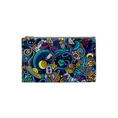 Cartoon Hand Drawn Doodles On The Subject Of Space Style Theme Seamless Pattern Vector Background Cosmetic Bag (Small)