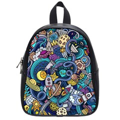 Cartoon Hand Drawn Doodles On The Subject Of Space Style Theme Seamless Pattern Vector Background School Bags (Small)