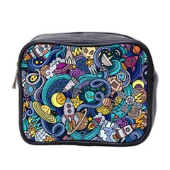 Cartoon Hand Drawn Doodles On The Subject Of Space Style Theme Seamless Pattern Vector Background Mini Toiletries Bag 2-Side