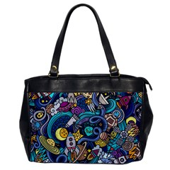 Cartoon Hand Drawn Doodles On The Subject Of Space Style Theme Seamless Pattern Vector Background Office Handbags